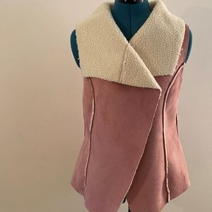 Ronnie Salloway Pink and Cream Faux Suede Vest